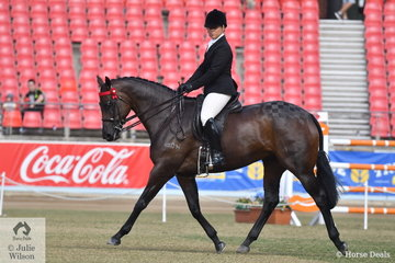 Kathleen Mullan's, 'Divinity' (Oratorio/Xaaristic) won the class for Led Thorougbred Mare N.E.16hh and went on to claim the Best Led Thoroughbred award and with it the prestigious Widden Stud Perpetual Trophy. Kathleen from Victoria was not finished yet as later in the day she rode away with the FL Crane Perpetual Trophy