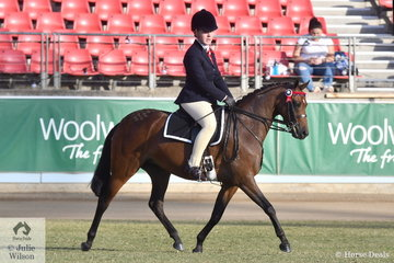 Karen Townsend's, 'KT Miss Molly' won the class for Australian Saddle Pony Mare/Gelding 12.2-13.2hh and went on to be declared Champion Ridden addle Pony and claim the HB and AG Haydon Memorial Trophy.