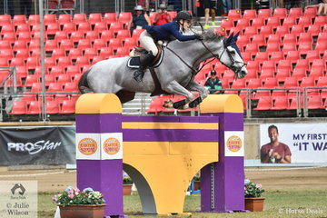 Melissa Blair jumped an impressive double clear aboard her imported Zirocco Blue mare, 'Zidora' to take third place in the Section Two jump off class.