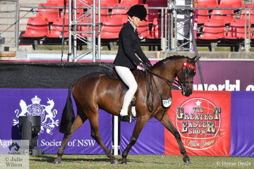 Jacinda Smith rode her, 'Merivale Park Remembrance' to win the class for Novice Pony 12.2-13hh.