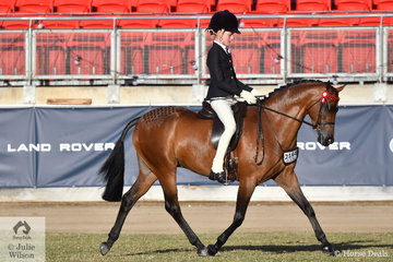 Elizabeth Taylor rode her, 'Emyella Pure Heaven' to win the class for Novice Pony 13.2-14hh.