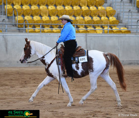 Karalinga Dunupinplatinum stepping out in the Senior Ranch Versatility Trail pattern with Sonya Atkinson in the saddle.
