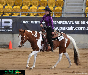 Rebecca Lewis competes Wayouts Ima Royal QT in the Amateur Reining class on day one of the 2019 Paint Horse National Show.