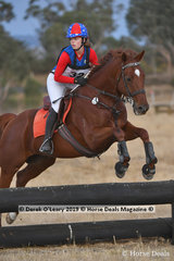 "Stella Eales in the Pony Club Grade 3 riding ""Yorkshire Envoy"" plcaed 10th with a score of 47"