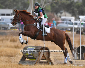 """Emilia Jones in the Pony Club Grade 2 riding """"Kenlock Casino Royale"""" placed 4th with a final score of 77"""