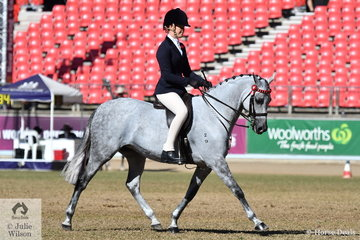 Tammin Glover is pictured aboard her Open 13.2-14hh winner, 'Greenwood Coco Chanel' during the Large Pony Championship ride off.