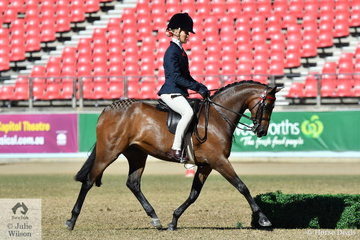 Trinette Crawford is pictured aboard Alexia Fraser's Open 12.2-13hh winner and Champion Large Pony 'Beckworth Charming Dream'.