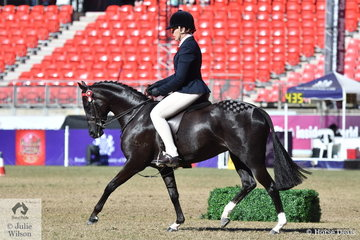 Penny Gibson is pictured working out abaord Scott Gibson's 'Seasons Park Diamonds' that took second place in the class for Open Pony 12-12.2hh.