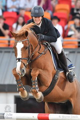 Gabi Kuna jumped clear and four to take second place in the Sydney Royal Grand Prix riding her outstanding, imported mare, 'Flaire'.
