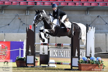 Tahlia Coleiro and  her colourful, 'Hillcrest All About Marvin' were members of the fourth placed Area 1 Pony Club Showjumping Team.