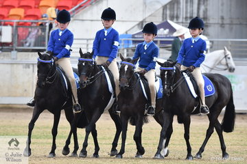 The Zone 26 Team from the Hawkesbury area; Aurora Cape, Lucinda O'Brien, Arabella Heming and Ella Stringer won the class for Pony Club Team of Four Riders Under 13 Years and claimed the Jenko Perpetual Cup.