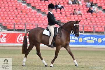 Emmerson Mitchell rode her, 'Double TT Debonaire' to win the class for Pony Club Rider 13 AU 15 Years.