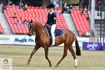 Regan Simpson rode her, 'Saravale Just Focus' to take third place in the class for Pony Club Rider 11 AU 13 Years.