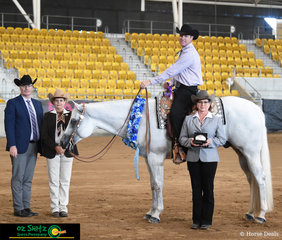 Taking out National Grand Champion in the 4 Year Old and Over Western Pleasure on the last day of competition is Tally S Fiftyshadesofgrey with rider Andrew Woinarski.