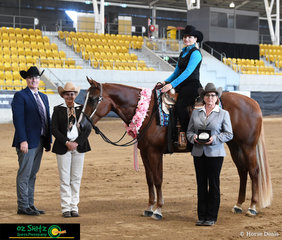 The Amateur Feature Western Pleasure was judged by, Clint Fullerton, Debra Watson and Jodie Finkenbinder this class was won by exhibit 144, RD Let's Get It On ridden by Carolyn Johnson.