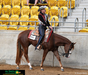 Looking very relaxed in the 3 Year Old Western Pleasure Class was APQ Sent By Chance ridden by Amy O'Connnell, this combination won the class receiving the National Championship title.