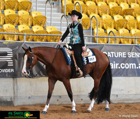 Cruising around in the Amateur Junior Horse Western Pleasure was Hez Kashin The Loot with Katelyn Read aboard.
