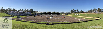 A new look Sydney 3DE with all the main competition centered around the Olympic arena. Today there were three dressage rings on the go in this arena and tomorrow the cross country also has some jumps on the arena along with a big screen.
