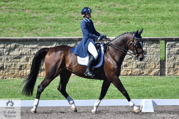 Tanya Schmidt riding Louise Stariha's, Warmblood gelding, Laurentino holds sixth place after the dressage phase of the Macarthur Automotive CCI4*-L.
