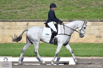 Lauren Browne riding the Thoroughbred, Sky's Da Limit holds fourth place after the dressage phase of the Bates Saddles CCI4*-S.