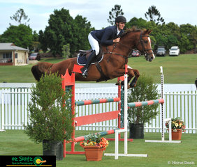 Bringing Calaza Park Casselli Law, by Calgary GNZ, up through the grades, Tim Bowman guides him expertly around the 1.10m on the second day of competition
