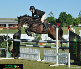 Sam Overton takes the young thoroughbred Jewel Quest around the 1.10m class sponsored by Penelope Store Australia