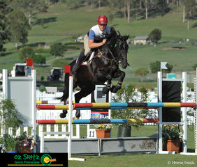 At the Aquis Champions Show Jumping Tour on Day 2 was Jack Schouten riding Lightening Strikes in the Penelope Store Australia 1.10m class.