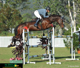 In 6th place during the Fiber Fresh 1.35m Speed Championships with a time of 65.83 was Rebecca Jenkins riding Our Kohinur on Day 2 of the Aquis Champions Tour.