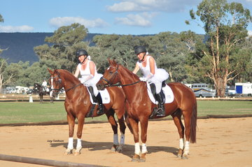 From left: Alicat ridden by Katherine Strelein together with Mayfield Be Brave ridden by Caroline Balog danced their way through their Ballerina themed Pas De Deux.