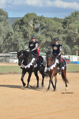 From left: Welts Brego ridden by Jane Pringle together with YV Quantum of Solace ridden by Karen Poulter presented a Game of Thrones themed Pas De Deux for the entertainment of the crowd on Friday afternoon.