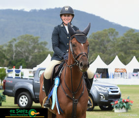 Winner of the NZPH sponosred 1.20m 6 Year Old Thoroughbred class was Jasmine Ritter and Blue Flame