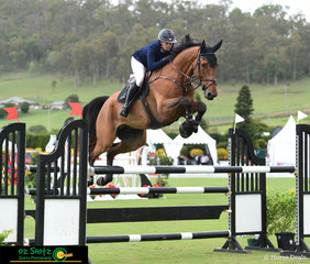 Pabello having plenty of air time over each fence in the Bronze Tour 1st Qualifying round with rider, Bridget Berry in the saddle.