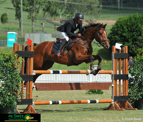 James Mooney rides Macleay Corsair in the final class of the day in arena two, the 1.15m Rising Star.