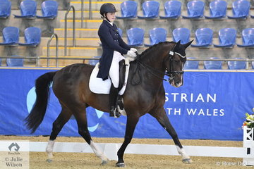 Sabrina Hitch from Qld. rode Dicavalli Dandy to fourth place in the Flexible Fit Australia Junior Team CDI-J.