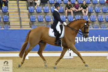 Tayla Desmet from Victoria rode Bluefields Furstentanz to seventh place in the Agnes Banks Equine Clinic FEI Young Rider Team Test.