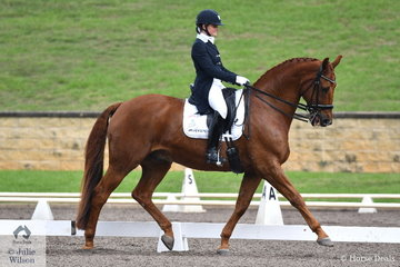 Abbie O'Brien from Victoria rode Rajah's Rave to eight place in the Bockmann Horse Trucks FEI Prix St Georges CDI 3*.