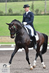 Brett Parbery rode Terry Snow's, imported stallion Sky Diamond to third place, scoring 70.05 in the Bockmann Horse Trucks FEI Prix St Georges CDI 3*.