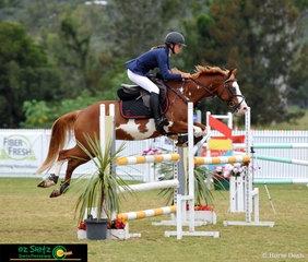 Showing great technique in the 1m class on day seven of the 2019 Aquis Champions Tour is horse and rider combination Kayla Johnston and Cowboy