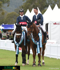 Prydes Team Mates, Merrick Ubank and Billy Raymont, share a laugh at the completion of the 1.50m Gold Tour 2nd Qualifier