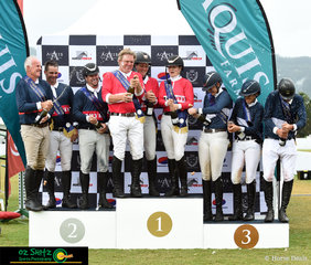 Competitors in the 1.50m Gold Qualifier Teams Event pop the corks on the champers in celebration of their success - Teams: (L to R) Chris Chugg, Merrick Ubank, Billy Raymont, Jamie Kermond, Maddi Stephen, Jess Brown, Kate Hinschen, Amber Fuller and Andrew Lamb