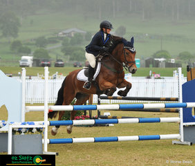 Competing in the 90cm class in their third ride together was Michelle Merrigan and her 10 year old Welsh Cob Gelding CWMKaren Thomas at Aquis on Friday