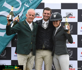 Winners and placegetters of the Kolora Lodge Silver Tour Final were Tom McDermott, Chris Chugg and Amelia Douglass celebrating with a champagne shower