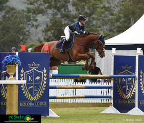 Soaring over her parents very own Kolora Lodge jump was Maleah Lang-McMahon riding K.S Sovereign's Cadel in the ISJ Junior Tour 2nd Qualifier at the AQUIS Champions Tour held at Elysian Fields