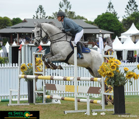 Taking a break from the big rings was Becky Jenkins riding Fairview Yankee through the 95cm Strawberry Hill Thoroughbred Finals at the AQUIS Champions Tour 2019.