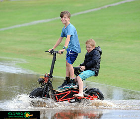 A little rain isn't going to keep these young competitors from having a little fun after their classes for the day are finished.
