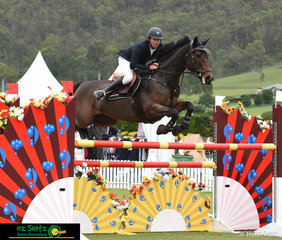 Soaring over each fence in the Kolora Lodge Silver Tour Final on the eighth day of competition was a great horse and rider combination of Hugh Buchanan and Diamond B Carla.