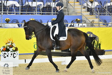 Rosanna Relton from Qld. rode her Four Winds Bombadier to third place in the Mulawa Performance FEI Grand Prix Freestyle under 25.
