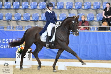 Mary Nitschke from South Australia rode her Utopian Cardinal to win the Mulawa Performance FEI Grand Prix Freestyle under 25, with a score of 68.16.