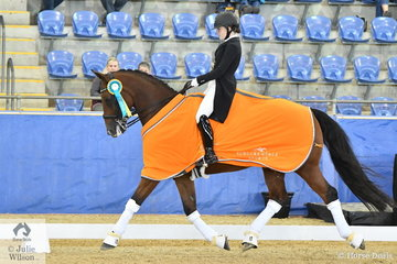Lindsey Ware rode her own Aristede to win the Agnes Bank FEI Young Rider Freestyle with a score of 73.83%.