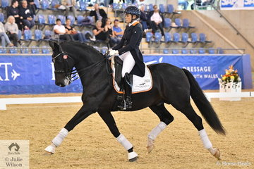 New Zealand combination Holly Leach and her stallion HP Fresco by Fackeltanz, won the Kohnke's Own 7 year old Young Horse Championship.